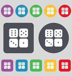 Dices icon sign A set of 12 colored buttons Flat vector image