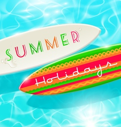 Surfboards on a blue shining tropical water vector image