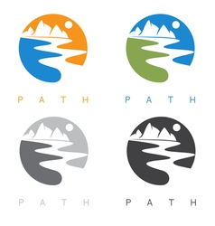 Abstract mountains and river labels set vector