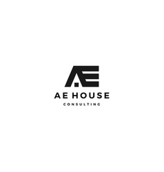 ae house home roof logo icon vector image