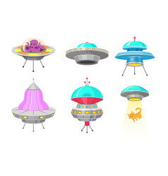 Alien spaceships set of ufo unidentified flying vector