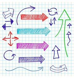 Arrow color sketchy design elements set vector image