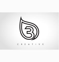 b leaf logo letter design with leaf outline vector image
