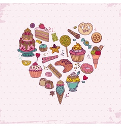 Background with Cakes Sweets and Desserts vector