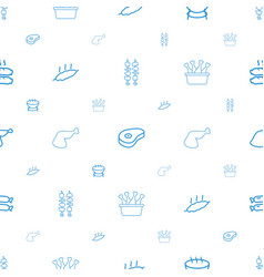 Barbecue icons pattern seamless white background vector