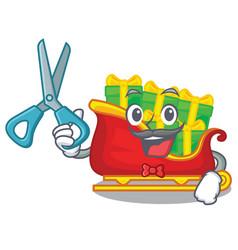 barber santa sleigh with piles presents cartoon vector image