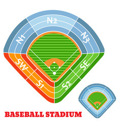 baseball stadium scheme with zone vector image
