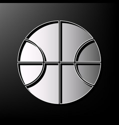 basketball ball sign gray 3d vector image