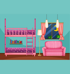 Bedroom with bunkbed and pink sofa vector