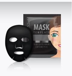 black facial sheet mask with sachet mock vector image