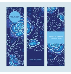blue night flowers vertical banners set pattern vector image