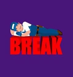Break in working time plumber sleeping fitter vector