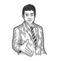 Businessman lend hand for handshake sketch vector