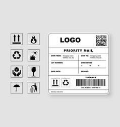 Cargo shipping label priority mail template vector