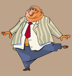 cartoon bald fat man in a suit gaily dances vector image