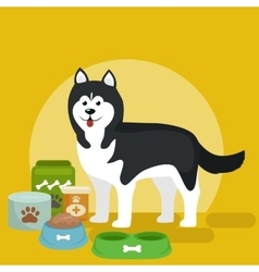 cartoon husky with food bowl vector image