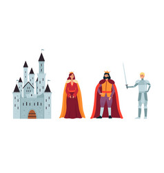 cartoon king queen and knight in front a castle vector image