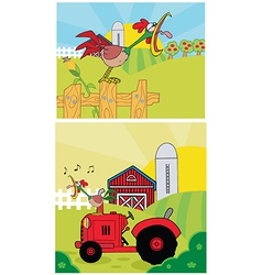 Cartoon rooster on a farm vector