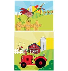 Cartoon rooster on a farm vector