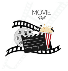 Cinema and movie night background one vector