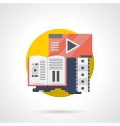 Cinema brochure color detailed icon vector