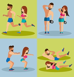 Couple running and Weight Training Basic for vector image