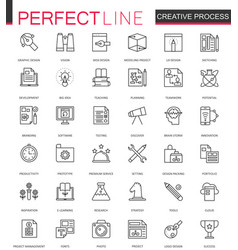 Creative process thin line web icons set outline vector