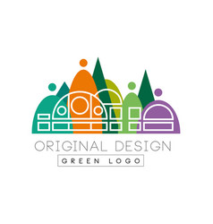 Creative urban landscape with city shopping mall vector