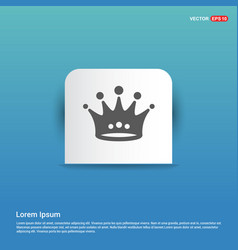 crown icon - blue sticker button vector image