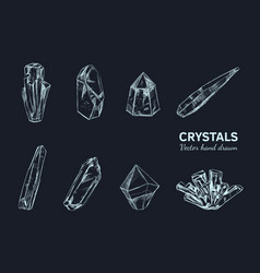 crystals and minerals 2 vector image