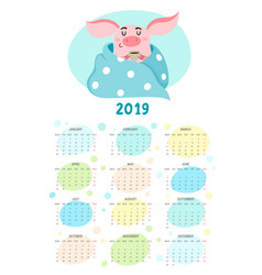 Cute calendar with cartoon pig new year 2019 vector