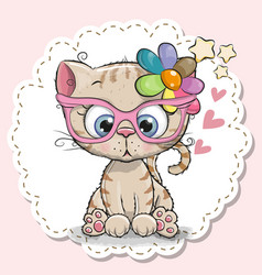 Cute cat girl in pink eyeglasses vector