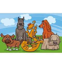Cute dogs group cartoon vector