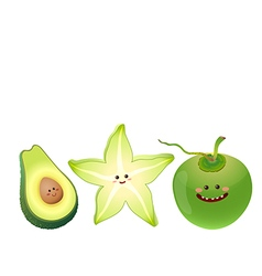 cute fruits avocado star fruit coconut vector image
