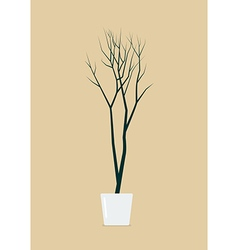 Dead tree in pot vector