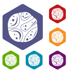 Deserted planet icons set hexagon vector
