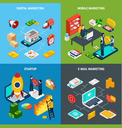 digital marketing 2x2 isometric concept vector image