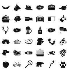 domestic dog icons set simple style vector image