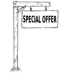 drawing of hanging wooden sign board with text vector image