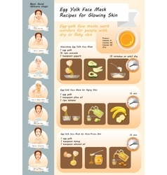 Egg Yolk Face Mask Recipes vector image