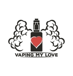 Emblem of an electronic cigarette with steam and vector image