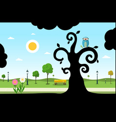 empty city park with owl on tree silhouette vector image