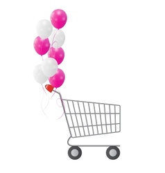 Empty Supermarket Shopping Cart Icon Isolated on vector image