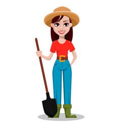Female farmer cartoon character vector
