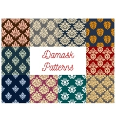 Floral damask seamless pattern background set vector