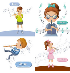 flute music banner set cartoon style vector image
