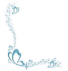 frame with butterfly and music notes vector image