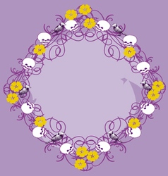frame with skulls and flowers vector image