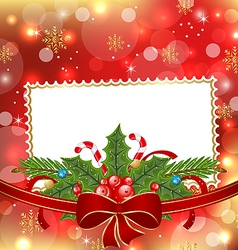 Greeting elegant card with Christmas decoration vector image