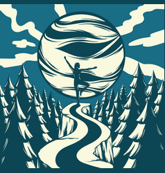 Hand drawn landscape with planet empty road vector